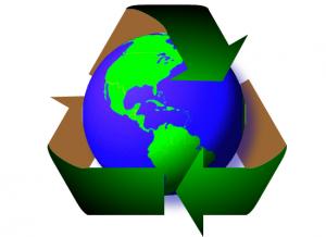 recycled globe in logo